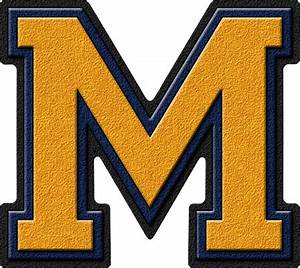 presentation alphabets gold navy blue varsity letter m With varsity letter m