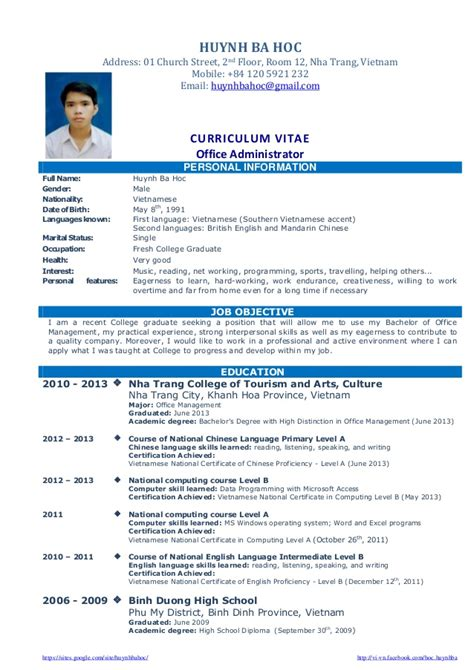 Resume Objective Exles For Fresh Graduates by Cv Resume Sle For Fresh Graduate Of Office Administration