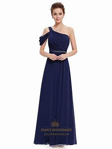 navy blue one shoulder chiffon long bridesmaid dress with With navy blue long dress for wedding