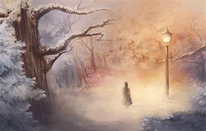 Narnia Chronicles Lantern Fantasy Artwork Desktop Trees