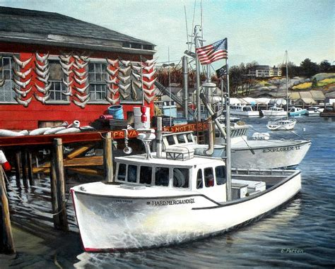 Merchandise Tuna Boat Sinks by Merchandise Rocky Neck Painting By Eileen Patten Oliver