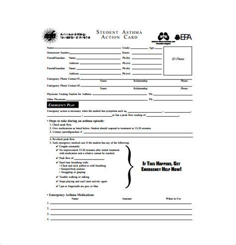 allergy card template allergy plan template 9 free word excel pdf