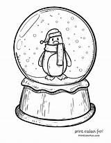 Globe Snow Coloring Penguin Winter Drawing Printable Globes Sketch Adult Sheets Boyama Penguins Printcolorfun Template Snowglobe Soccer Drawings Snowman Printables sketch template