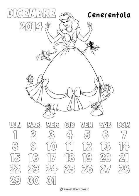 calendario  delle principesse da colorare  bambine