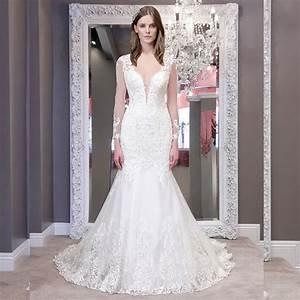Deep v lace wedding gown wedding deep v neck ball gown for Long sleeve v neck wedding dress