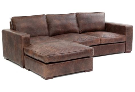 Battersea Chaise End Grande Vintage Leather Corner Sofa