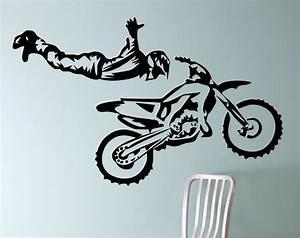 dirt bike biker superman trick motorcycle vinyl wall decal With good look motocross decals for walls