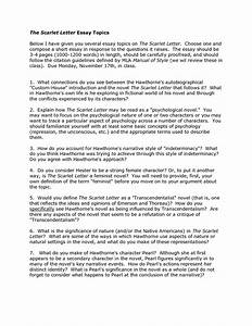 High School English Essay Topics Literary Analysis Essay On The Scarlet Letter Pdf Research Proposal  Guidelines Thesis Statement In A Narrative Essay also English Essay Sample Essay On Scarlet Letter Print Lined Writing Paper Essay Questions  Sample English Essay