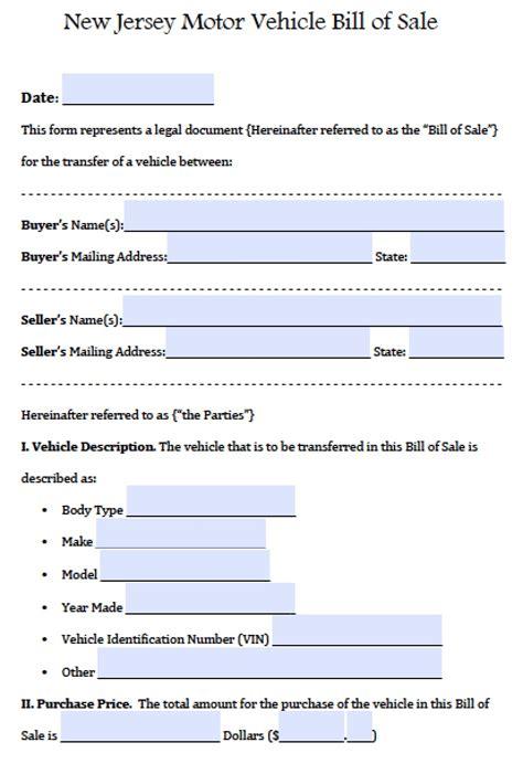 jersey motor vehicle carauto bill  sale form
