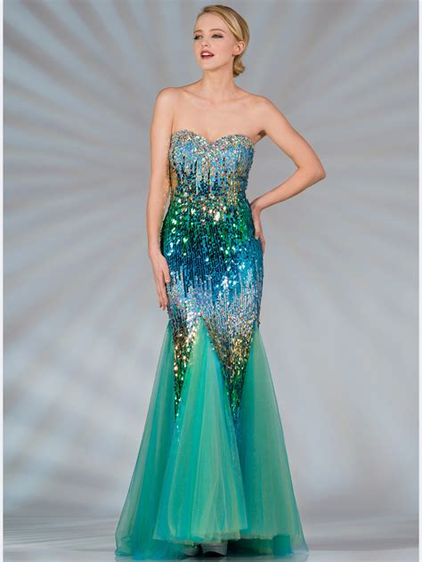 blue  green sequin mermaid prom dress sung boutique la