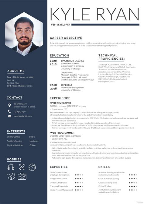 web developer resume template  adobe photoshop templatenet