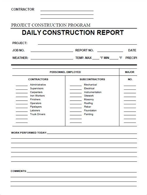daily construction report template   word