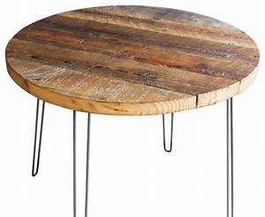 round antique barnwood coffee table with hairpin legs With round barnwood coffee table