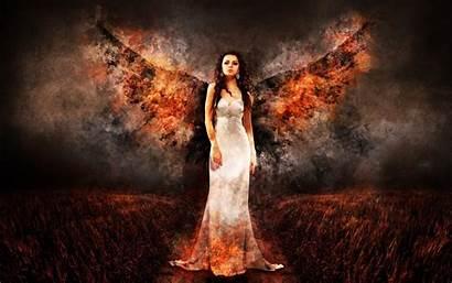Wings Fire Woman Wallpapers Angel Resolution Fantasy