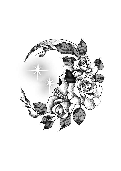flower crescent moon skull wrist tattoo design black white designer andrija protic tattoo