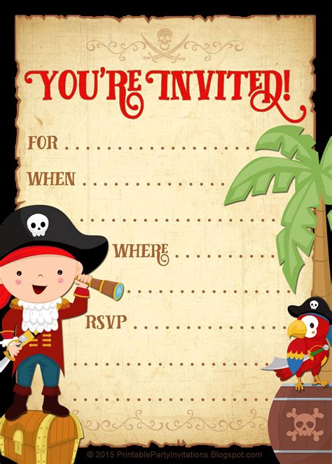 FREE printable pirate party invitation Pirate invitations