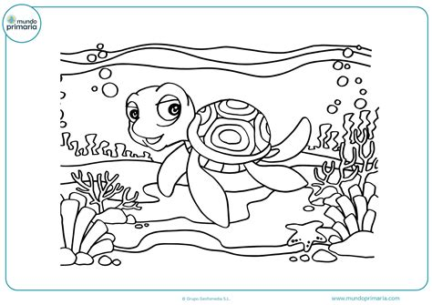 Dibujos de tortugas para Colorear Mundo Primaria