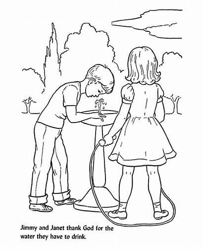 Coloring Pages Fountain Bible Lesson Water Drinking