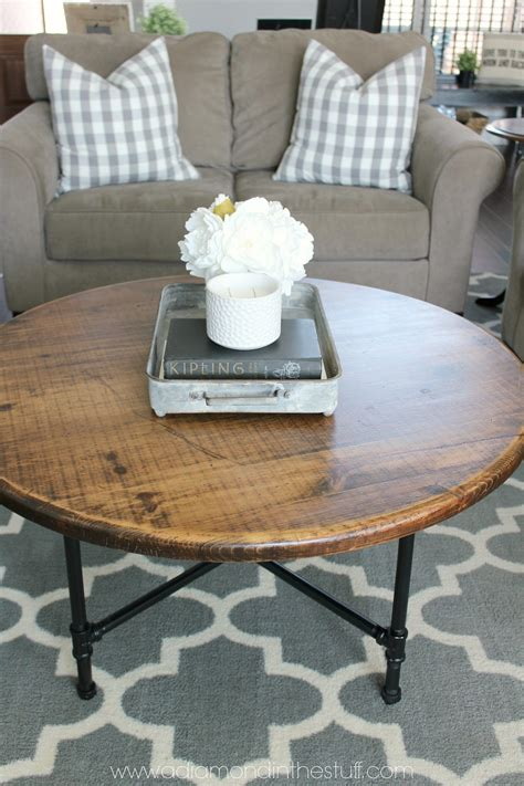 We're pretty happy with the results, and our. DIY Round Industrial Coffee Table   A Diamond in the Stuff   Round coffee table diy, Decorating ...