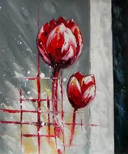Tableau Fleurs Moderne : peinture abstraite tulipes rouges tableau peint sur toile ~ Teatrodelosmanantiales.com Idées de Décoration