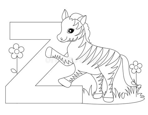 animal alphabet  coloring page stock vector