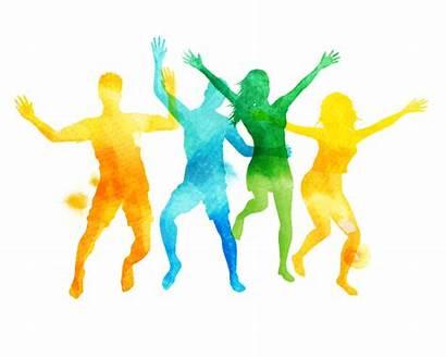 Watercolour Jumping Vector Friends Team Building Summer