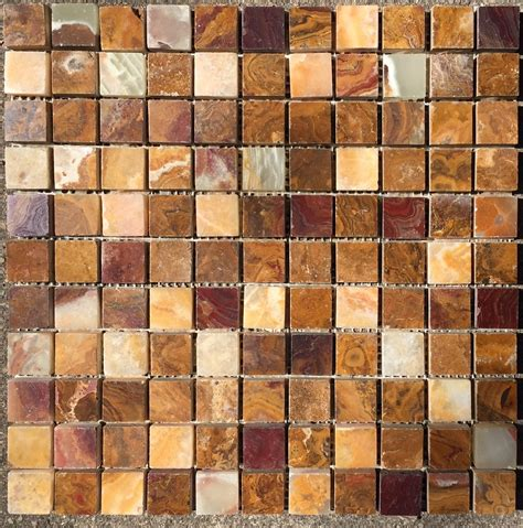 sample   multi colored red onyx polished mosaic tiles