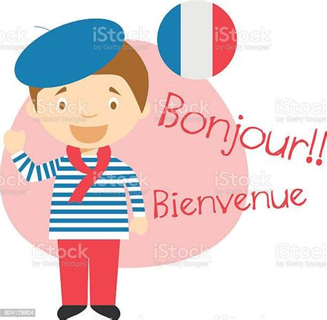 Cartoon Character Saying Hello And Welcome In French Stock ...