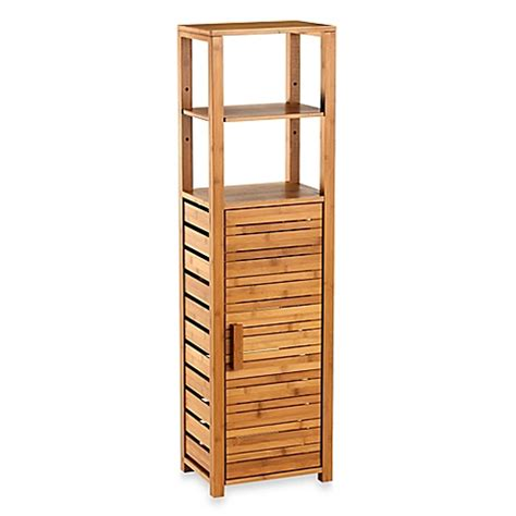 Bathroom Cabinet Bed Bath And Beyond by Bamboo Tall Floor Cabinet Bed Bath Amp Beyond