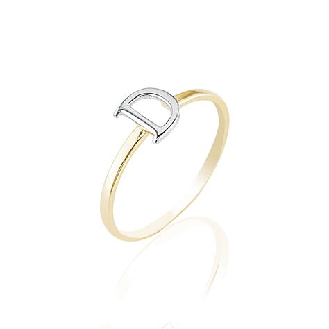 yellow white  tone letter  initial  ladies ring