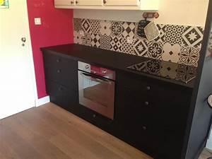 cuisine avant apres noir ulta mat credence carreaux ciment With crédence carreaux de ciment leroy merlin