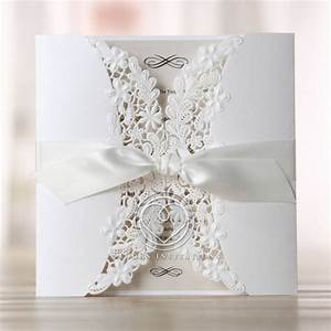 delicate embossed laser cut gate fold invitation center bow With laser cut floral wrap wedding invitations