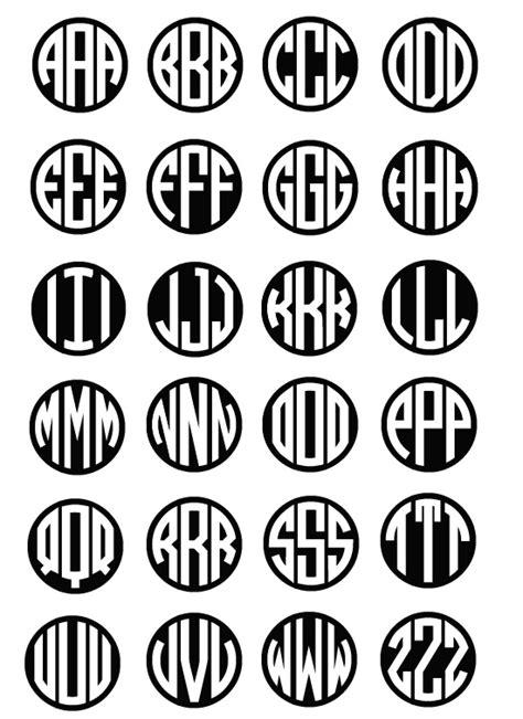 circle block monogram font  images vinyl circle monogram font    circle