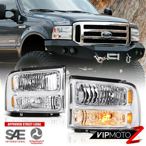 2005 2007 ford f250 f350 f450 superduty sd chrome front headlights assembly pair ebay