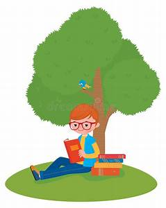 Boy Reading A Book Sitting Under A Tree Stock Vector ...