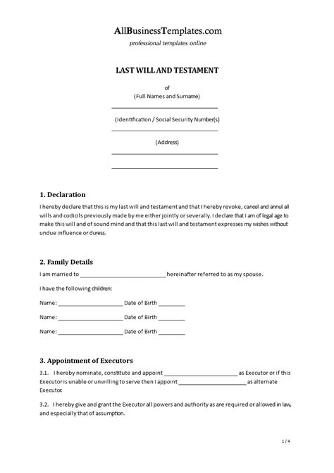 template for writing a will last will testament templates at allbusinesstemplates