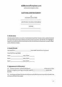 last will and testament free template maryland - last will testament templates at