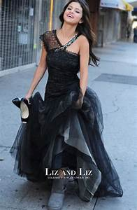 Selena Gomez Black Lace Tulle Prom Gown Celebrity Dress ...