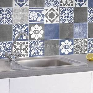 vogue blue wall tile stickers With stickers pour carrelage mural cuisine