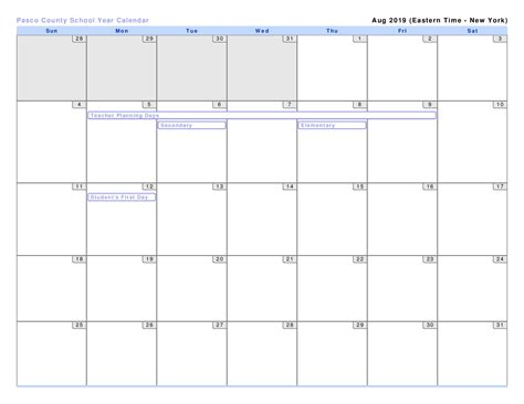 pasco county school calendar printable file