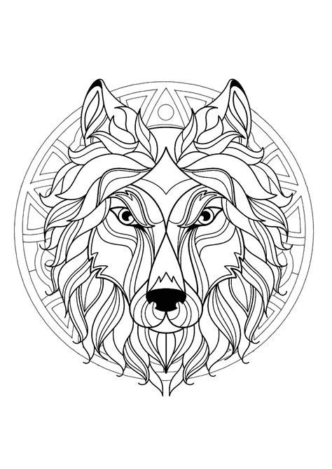 mandala  beautiful wolf head  superb geometric patterns malas adult coloring pages