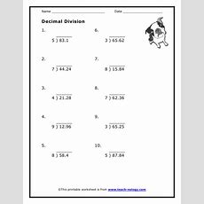 Worksheets Long Division Decimals  Education Math  Math Worksheets, Long Division, Decimal