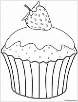 Muffin Coloring Pages Strawberry Cupcake Drawing Muffins Cakes Printable Cup Cupcakes Sheet Erdbeere Ausmalbild Mit Neocoloring Cake Template Azcoloring Para sketch template