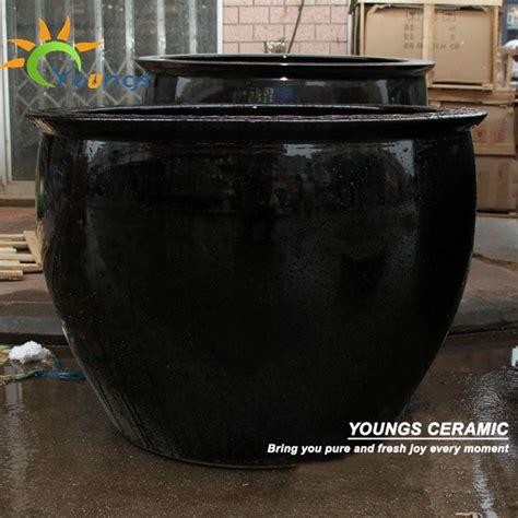 special large black glazed ceramic garden flower pots and planters view large garden