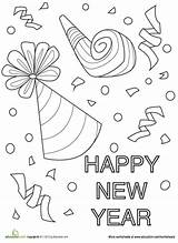 Coloring Pages Confetti Years Worksheets Worksheet Preschool Sheets Crafts Education Eve Graders Fifth Happy Colouring Kindergarten Clock Celebration Chinese Adult sketch template