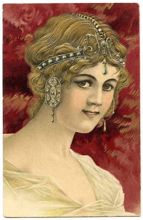 art nouveau graphic beautiful woman  jewelry