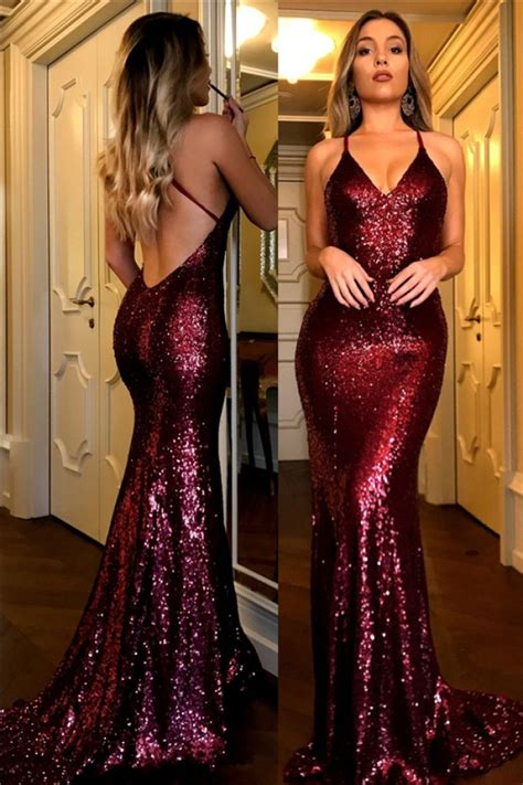 sexy halter  neck open  sequined burgundy prom