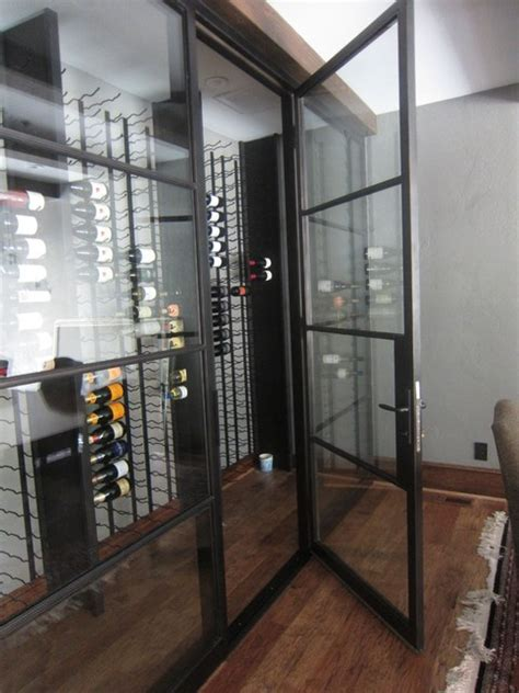 insulated iron  dual pane glass custom wine cellar door