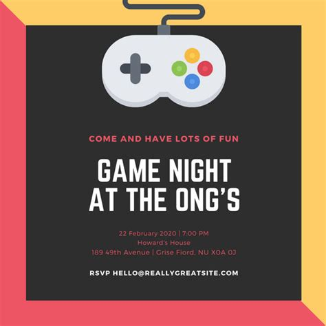 customize  game night invitation templates  canva