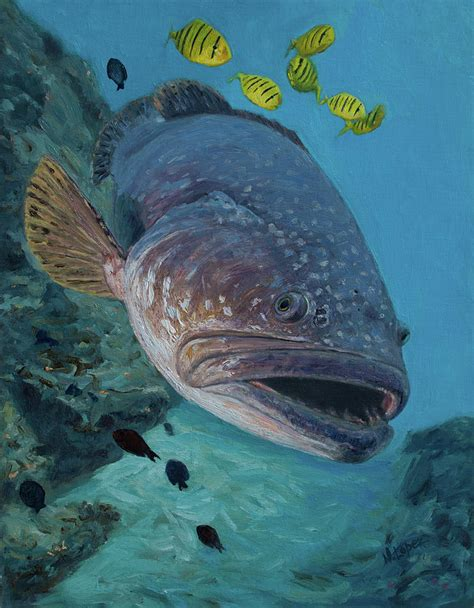 grouper fish giant goliath painting marine oil manuel lopez fishing paintings which